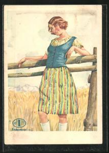 AK Reklame für mit Indanthren gefärbte Stoffe, junges Mädchen steht lasziv an Holzzaun, präsentiert Kleidung
