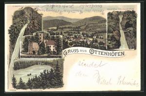Lithographie Ottenhöfen, Ruine Allerheiligen, Wasserfall Edelfrauengrab, Mummelsee