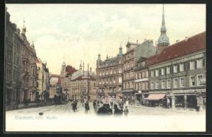 AK Barmen, Alter Markt, Strassenbahn, Norddeutscher Lloyd Bremen, Import Cigarren Versand, Hutmanufactur