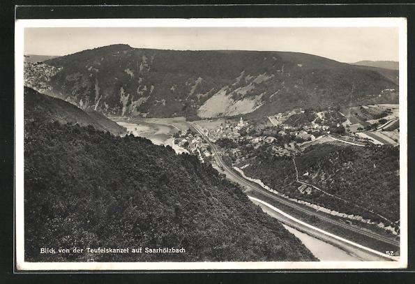 AK Saarhölzbach, Blick von der Teufelskanzel über den Ort