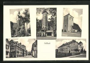 AK Fellbach, verschiedene Ansichten aus dem Ort