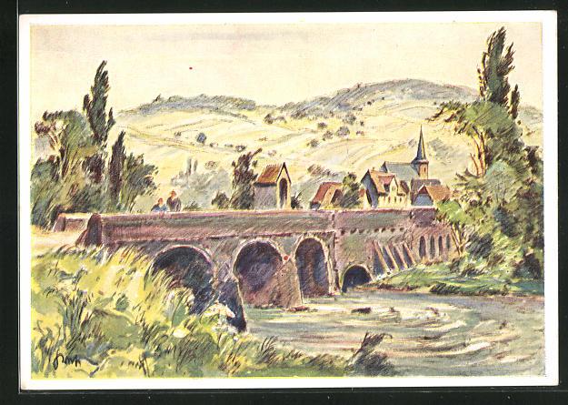 Künstler-AK Reinheim i. Bliestal, Idylle mit Alte Brücke und Blick nach dem Ort mit Kirchturm
