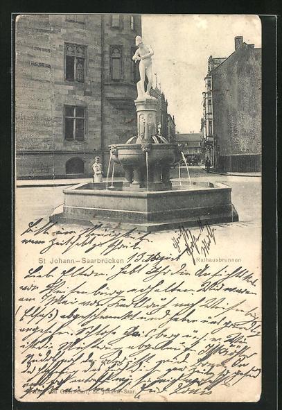 AK Saarbrücken-St. Johann, Rathausbrunnen