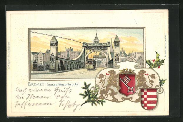 Passepartout-Lithographie Bremen, Grosse Weserbrücke mit Strassenbahn, Wappen