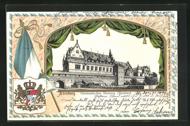 Passepartout-Lithographie Nürnberg, Germanisches Museum, Wappen