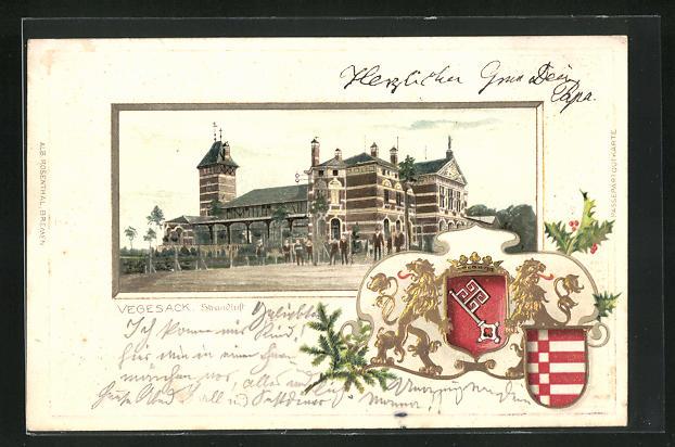 Passepartout-Lithographie Vegesack, Strandluft, Wappen