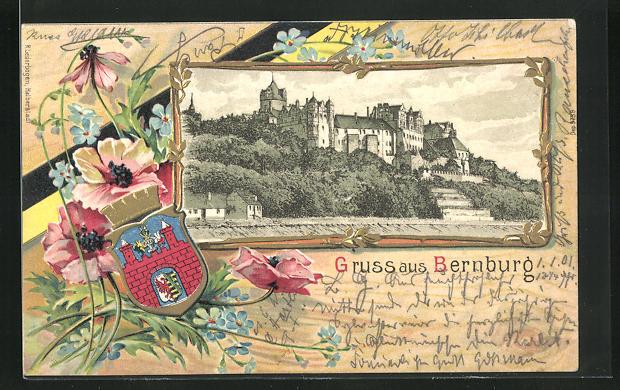 Passepartout-Lithographie Bernburg, Schloss, Wappen, Blumen