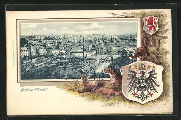 Passepartout-Lithographie Elberfeld, Ortsansicht mit Schornsteinen, Wappen, Jagdhund und erlegte Tiere