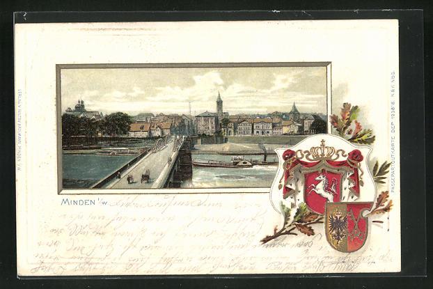 Passepartout-Lithographie Minden i. W., Brücke mit Fluss und Dampfer, Wappen