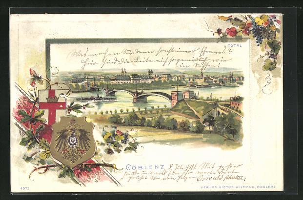 Passepartout-Lithographie Coblenz, Ortsansicht mit Brücke und Fluss, Wappen, Weintrauben