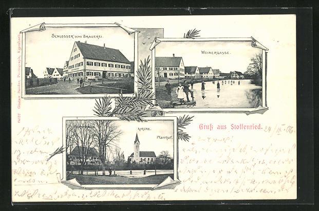 AK Stoffenried, Schlosser`sche Brauerei, Weihergasse, Kirche, Pfarrhof