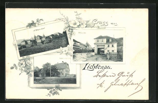 AK Lichtenau, Gefängnis, Gasthaus Fritz Geuchs, Unteres Thor