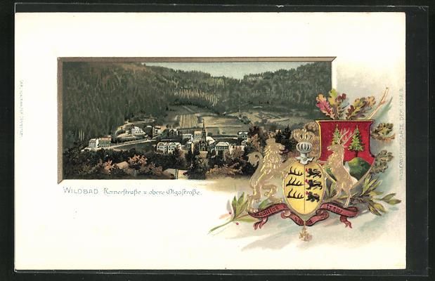 Passepartout-Lithographie Wildbad, Kernerstrasse und obere Olgastrasse, Wappen