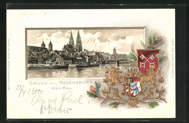 Passepartout-Lithographie Regensburg, Eiserne Brücke, Donau, Wappen