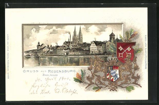Passepartout-Lithographie Regensburg, Donau-Ansicht mit Dom, Wappen