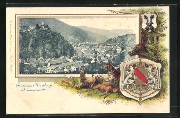 Passepartout-Lithographie Hornberg / Schwarzwald, Schloss, Wappen, Jagdhund mit erlegtem Wild