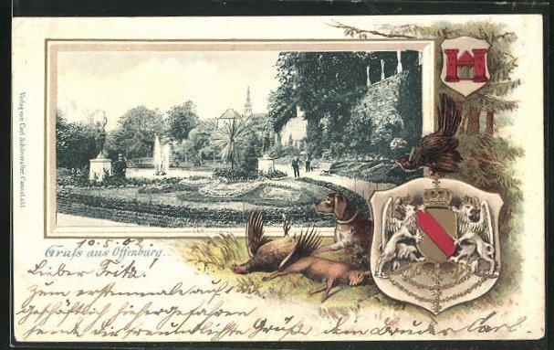 Passepartout-Lithographie Offenburg, Parkanlage, Wappen, Jagdhund mit erlegtem Wild