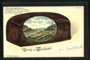 Passepartout-Lithographie Porta Westfalica, Ansicht im Pumpernickel