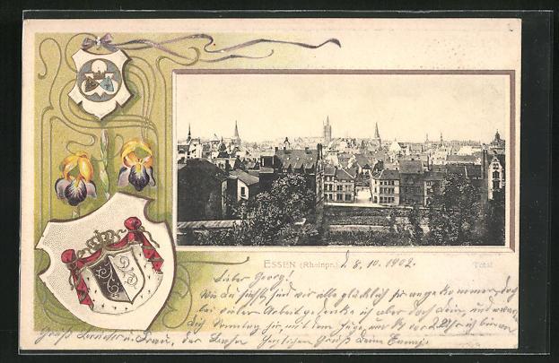 Passepartout-Lithographie Essen, Stadtsilhouette, gerahmt mit Wappen