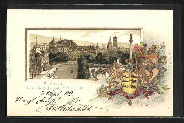 Passepartout-Lithographie Stuttgart, Altes Schloss mit Schlossplatz u. Wappen