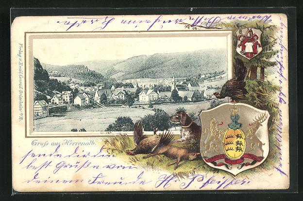 Passepartout-Lithographie Herrenalb, Gesamtansicht u. Wappen