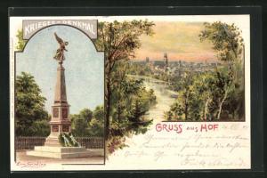 Künstler-AK Erwin Spindler: Hof, Ortsansicht, Krieger-Denkmal