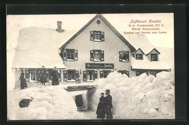 AK Kniebis, Gasthof und Pension zum Lamm im Schnee