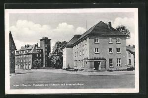 AK Lugau i. Erzgeb., Poststrasse mit Stadtpark und Feuerwehrdepot