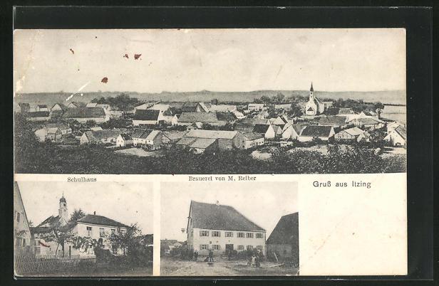 AK Itzing, Brauerei von M. Reiber, Schulhaus, Gesamtansicht