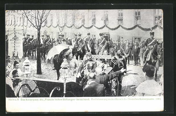 AK Halle a. S., Das Kaiserpaar, die Francke`schen Stiftungen besuchend