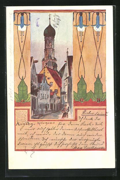 AK Augsburg, Kohlergasse mit Passanten im Jugendstil