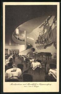 AK Chemnitz, Gross-Konditorei u. Konzert-Kaffee Efreuna, Musikpodium mit Mosaikbild u. Treppenaufgang