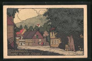 Steindruck-AK Wildemann, Markt mit hist. Linde