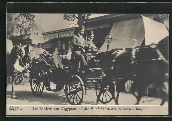 AK Kairo, Der Khedive von Aegypten auf der Ausfahrt in den Strassen Kairo`s, Kutsche