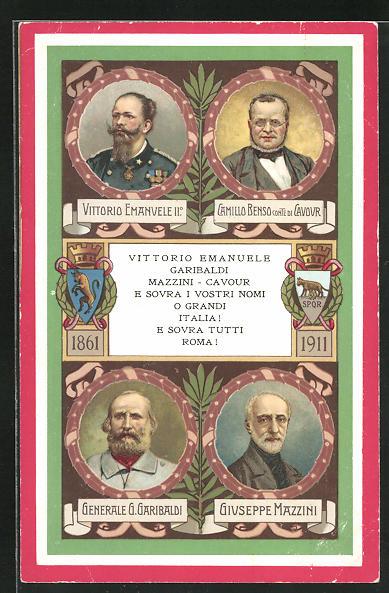 AK italienischer Unabhängigkeitskrieg, Vittorio Emanuele II., Camillo Benso Comte di Cavour, Generale G. Garibaldi