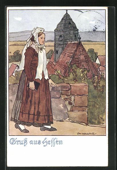 Künstler-AK Otto Ubbelohde: Frau in hessischer Tracht auf dem Weg zur Kirche