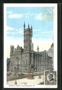 AK Philadelphia, PA, Masonic Temple, Freimaurer