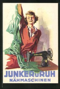 AK Frau an der Nähmaschine, Reklame für Junker & Ruh Nähmaschinen