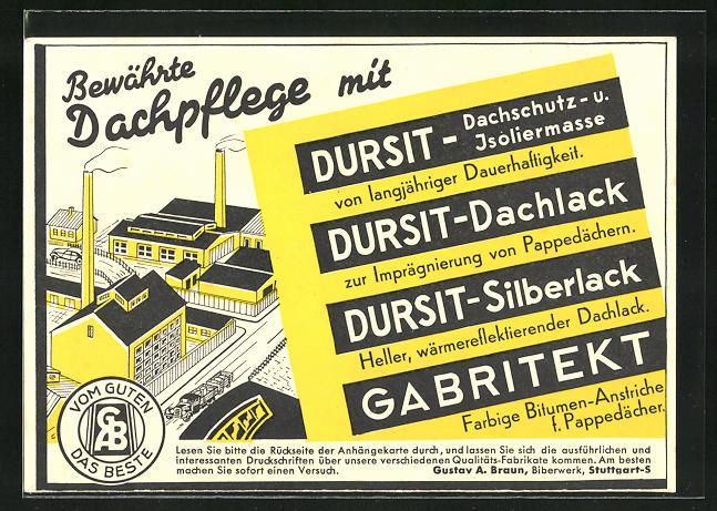 AK Reklame für DURSIT Dachpflege, Fabrikanlage aus der Vogelschau, Handwerk