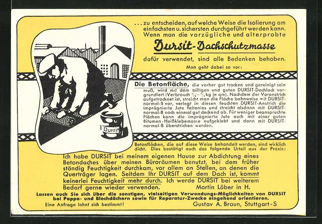 AK Reklame für DURSIT Dachschutzmasse, Handwerker bei der Arbeit auf dem Dach