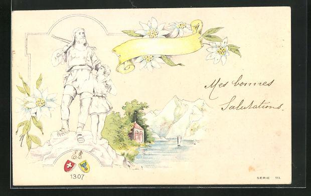 Präge-AK Wilhelm Tell mit Armbrust und kleinem Jungen vor einer Berglandschaft