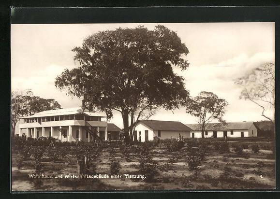 AK Wohnhaus und Wirtschaftsgebäude einer Kaffeepflanzung