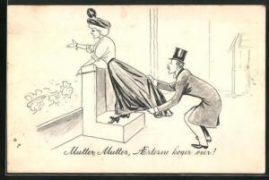 AK Herr mit Zylinder hält den Rockzipfel einer sprechenden Dame