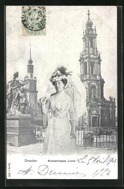 AK Dresden, Kronprinzess Luise von Sachsen mit Schirm