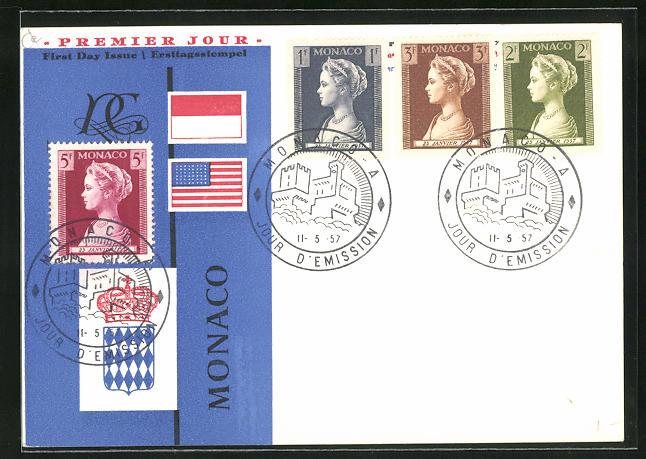 AK Fürstin Gracia Patricia von Monaco auf einer Briefmarke
