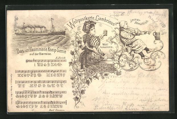 AK Brauerei Gambrinus, Passagierschiff, Frau mit Bierglas, Liedtext Das vollkommene Kneip-Genie, früher Druck