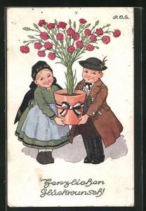 Künstler-AK P. O. Engelhard (P.O.E.): Kinderpaar gratuliert mit Blumen