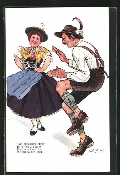 Künstler-AK Ernst Schlemo: Paar in Tracht beim Tanz