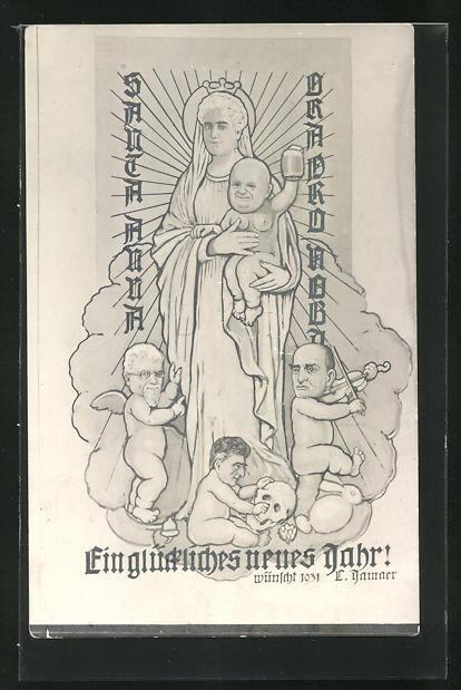 AK Heiligenfigur mit Kind und Engeln, Männerköpfe, Karikatur