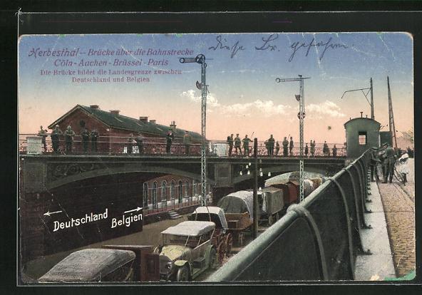 AK Herbesthal, Brücke über die Bahnstrecke Köln - Paris, Grenze zwischen Deutschland und Belgien
